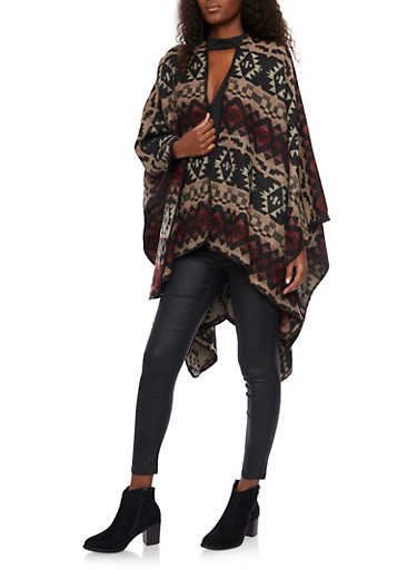 Cape Scarf in Aztec Print,BLACK,large