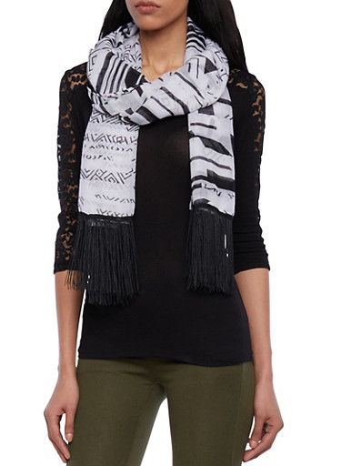 Fringed Scarf in Abstract Print,BLACK/WHITE,large