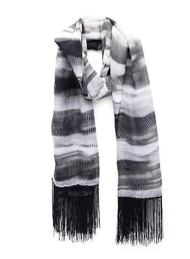 Striped Scarf with Tassel Fringe,BLACK/WHITE,large