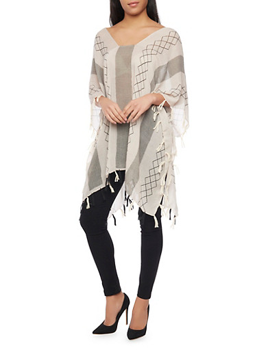 Light Weight Printed Poncho with Fringe,NATURAL,large