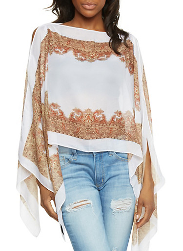 Chiffon Paisley Trim Scarf Top with Pearl Buttons,WHITE,large