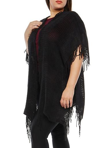Fringe Knit Kimono,BLACK,large