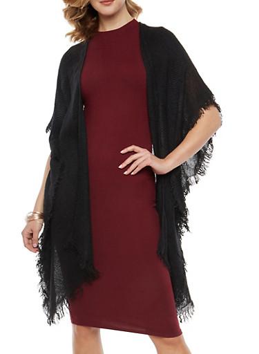 Fringe Knit Duster,BLACK,large