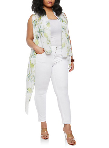 Tropical Graphic Fringe Duster,WHITE,large