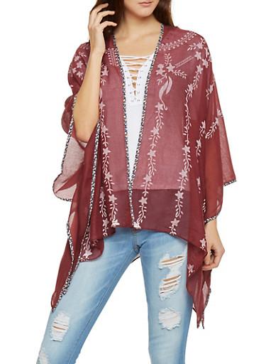 Sheer Open Front Star Print Kimono,BURGUNDY,large