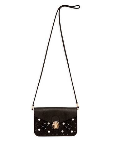 Textured and Studded Faux Leather Crossbody Bag,BLACK,large