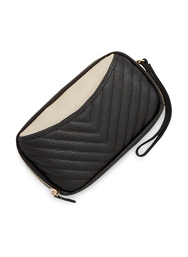 Color Block Wristlet Bag in Quilted Faux Leather,BLACK,large