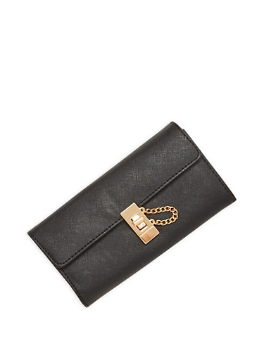 Textured Faux Leather Wallet with Chain Lock Accent,BLACK,large