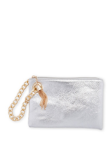 Faux Leather Chain Strap Clutch,SILVER/GOLD,large