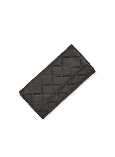 Flap Wallet in Quilted Faux Leather,BLACK,large