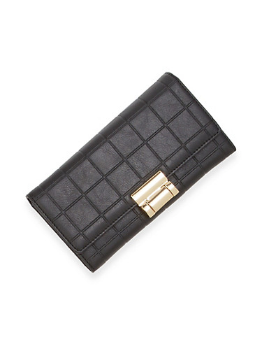 Embossed Wallet with Metal Lock,BLACK,large