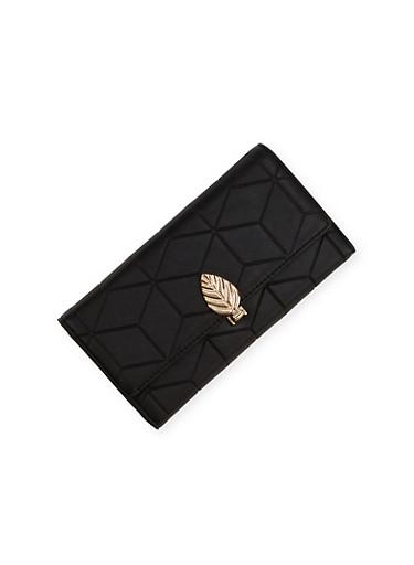 Embossed Wallet with Leaf Lock,BLACK,large