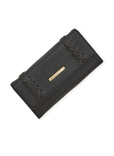 Faux Leather Wallet with Braided Detail,BLACK,large