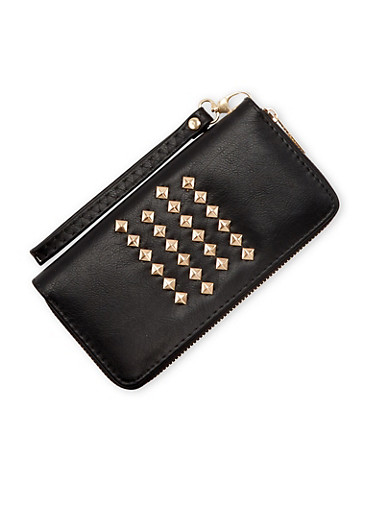 Continental Wallet with Studs and Wristlet Strap,BLACK,large
