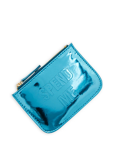 Spend Me Mirror Metallic Coin Purse,TURQUOISE,large