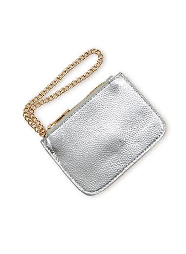 Faux Leather Chain Strap Wristlet,SILVER,large