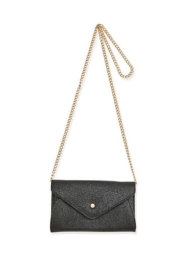 Textured Faux Leather Envelope Crossbody Bag,BLACK,large