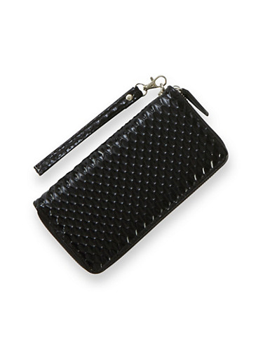 Patterned Wristlet Wallet in Patent Faux Leather,BLACK,large