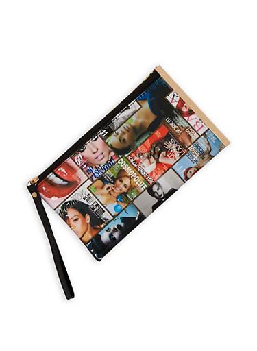 Magazine Print Faux Leather Wristlet,MULTI COLOR,large