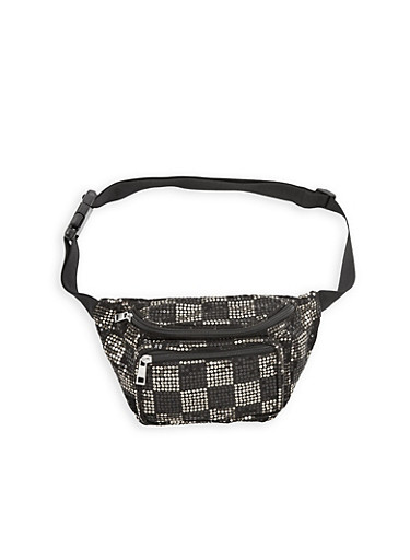 Sequin Fanny Pack,BLACK/SILVER,large