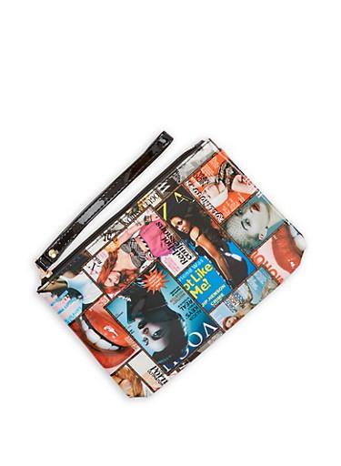 Magazine Print Clutch,MULTI COLOR,large
