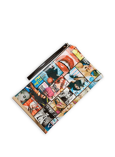 Magazine Print Clutch with Metallic Bar Accent,MULTI COLOR,large