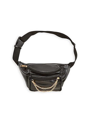 Faux Leather Fanny Pack With Chain Detail,BLACK/GOLD,large