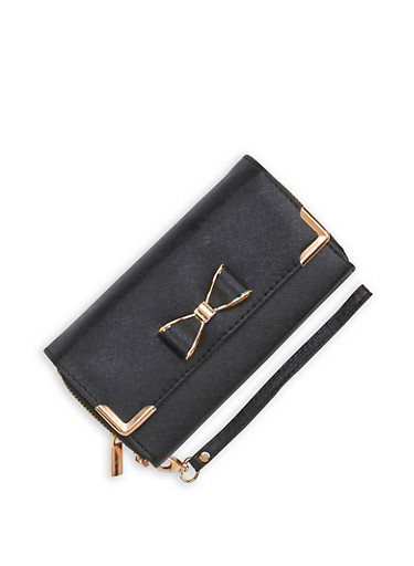Metallic Bow Double Zip Faux Leather Wallet,BLACK,large