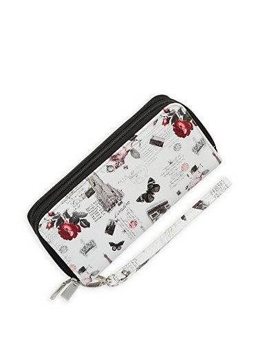 Faux Leather Floral City Graphic Wallet,IVORY,large