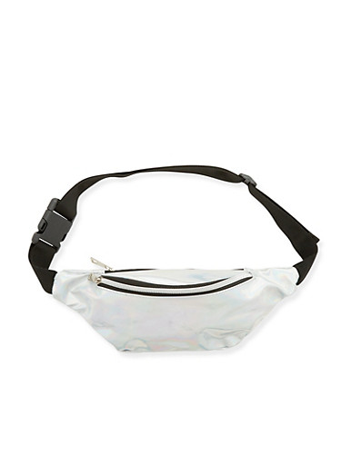 Mirrored Metallic Fanny Pack,SILVER,large