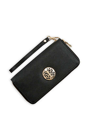 Faux Saffiano Leather Zip Around Wallet,BLACK,large