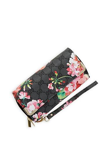Floral Print Faux Leather Double Zip Wallet,BLACK,large