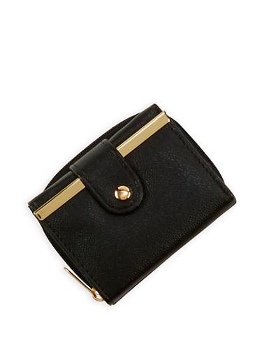 Mini Tri Fold Wallet with Metallic Bar Accent,BLACK,large