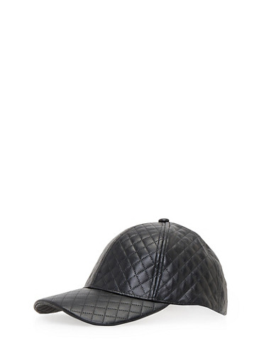 Quilted Snapback Hat,BLACK,large