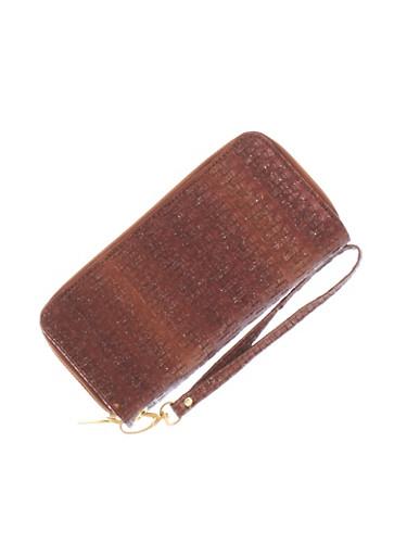 Dual Zip Glitter Basketweave Wallet With Detachable Wristlet Strap,COGNAC,large