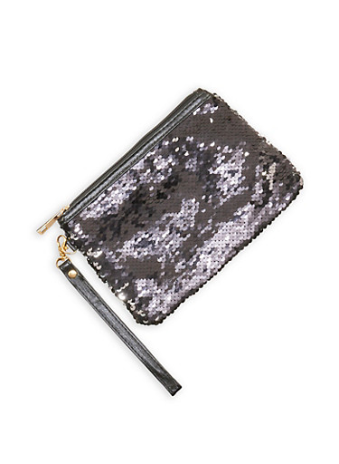 Reversible Sequins Wristlet,BLACK,large