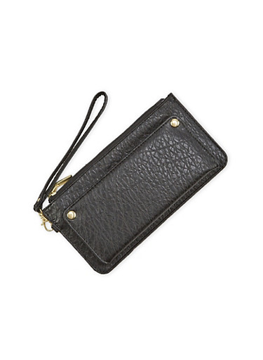 Zip Wristlet in Pebbled Leather,BLACK,large