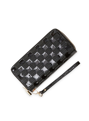 Checkered Wristlet Wallet with Double Zip Pockets,BLACK,large