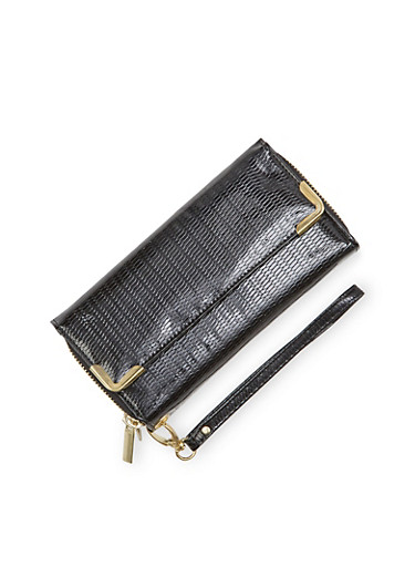 Patent Wristlet Wallet with Double Zip Compartments,BLACK,large