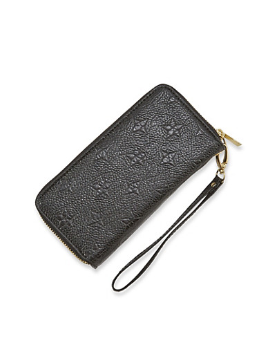 Wristlet Wallet with Double Zip Pockets,BLACK,large