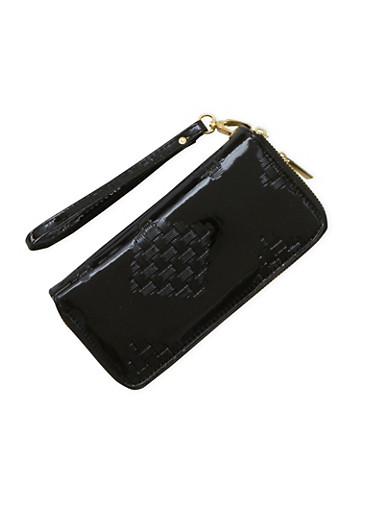 Patent Wristlet Wallet with Double Zip Pockets,BLACK,large
