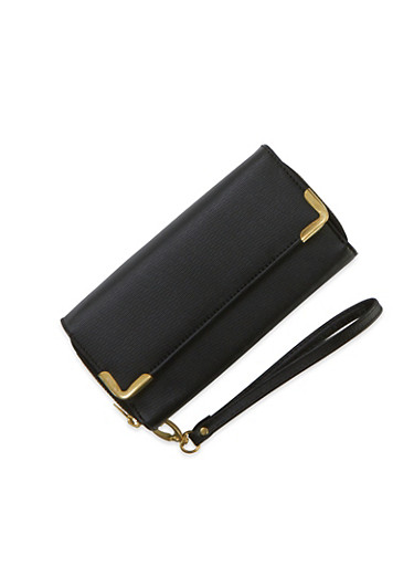 Wristlet Wallet with Double Zip Pockets and Metal Trim,BLACK,large