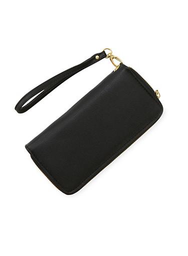 Double Zip Wristlet Wallet,BLACK,large