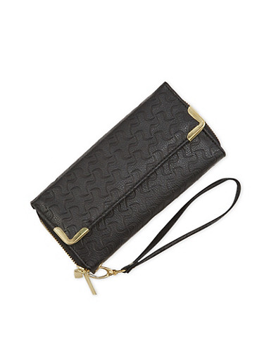 Faux Leather Wristlet Wallet with Double Zip Compartments,BLACK,large