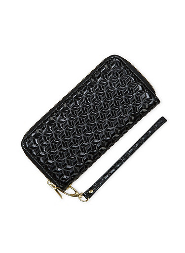 Double Zip Wristlet in Patent Leather,BLACK,large
