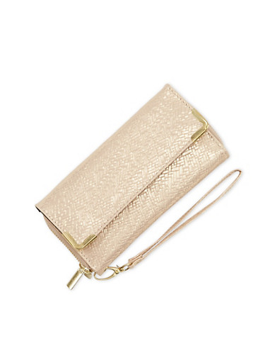 Shimmer Wristlet with Double Zip Compartments,GOLD,large