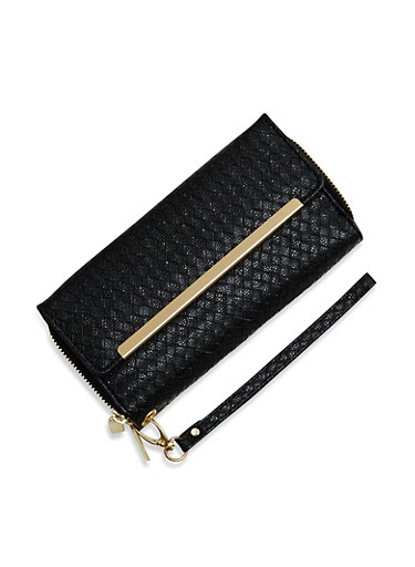 Metallic Wristlet Wallet with Double Zip Pockets,BLACK,large