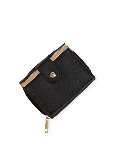 Mini Wallet with Two Compartments,BLACK,large