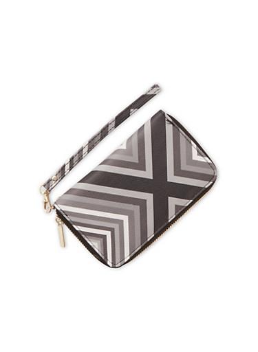 Striped Zipper Wallet with Wrist Strap,BLACK/WHITE,large