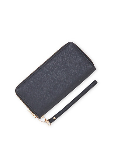 Double Zip Wallet with Pebbled Leather,BLACK,large